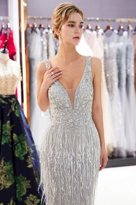 Glamorous V-Neck Sleeveless Mermaid Prom Dresses | 2020 Long Sequins Evening Gown With Tassels_5