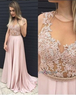 2020 Long Pearls Pink A-line Top Sheer Sleeveless Prom Dresses_2