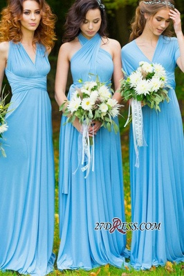 Elegant A-line Covertible Sash Bridesmaid dresses_7
