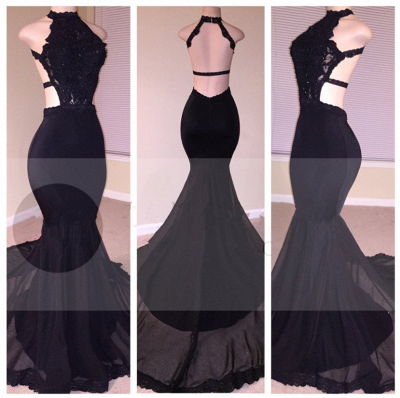 Black Lace Prom Dress | 2020 Halter Party Dress With Appliques BA8130_4