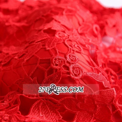 Short Sexy Cap-Sleeve Lace Red Tulle Homecoming Dress_3
