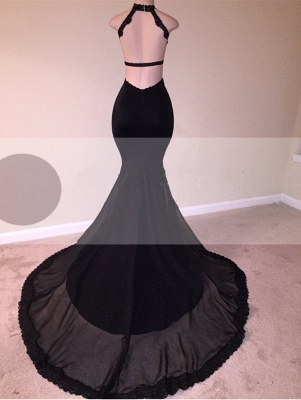 Black Lace Prom Dress | 2020 Halter Party Dress With Appliques BA8130_3