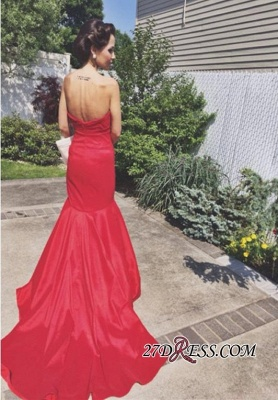 Sleeveless Sweep-Train Newest Sweetheart Mermaid Red Prom Dress_2