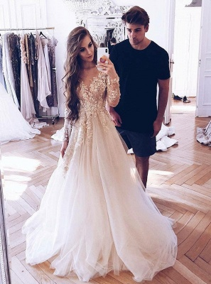 Glamorous Long Sleeves Tulle 2020 Bridal Gown | V-Neck Lace Appliques Princess Wedding Dress_3