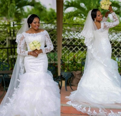 Gorgeous Long Sleeve Plus Size Wedding Dress 2020 Mermaid Lace Appliques With Beads_3