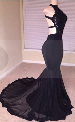 Black Lace Prom Dress | 2020 Halter Party Dress With Appliques BA8130_6