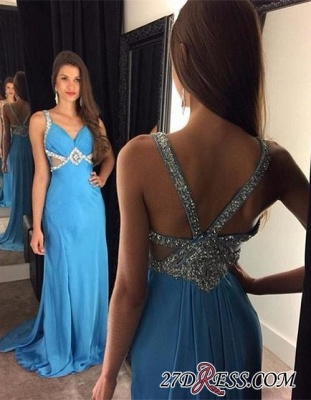 Sexy Blue Chiffon Sleeveless Crystal Long Prom Dresses AP0_1