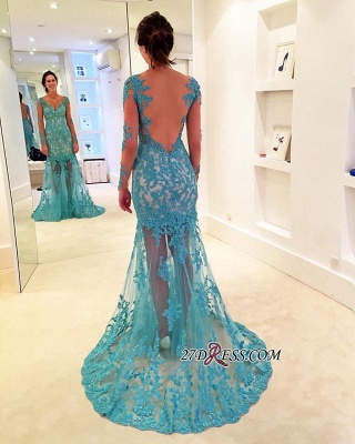 2020 Sweep-Strap V-neck Mermaid Long-Sleeve Delicate Lace Prom Dress_2