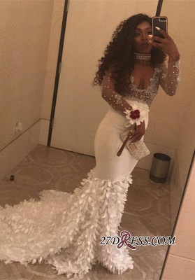 White long sleeve prom dress, v-neck mermaid evening party dress BK0 BA8157_2