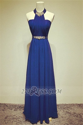 Elegant High Neck Long Chiffon Evening Dresses Beadings Crystals Prom Gowns_1