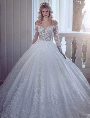 Gorgeous Off-the-Shoulder Long Sleeves Wedding Dress | Lace Appliques Ball Gown Bridal Gowns_1