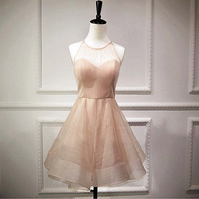 Homecoming Dresses Sleeveless Mini Sexy A-Line Chiffon Halter Cocktail Dresses_4
