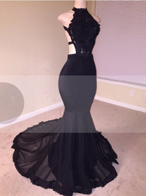 Black Lace Prom Dress | 2020 Halter Party Dress With Appliques BA8130_1