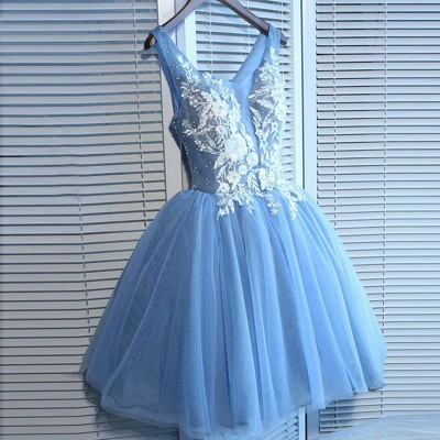 Delicate Blue Lace Straps A-line Homecoming Dress   2020 Short Party Gown_3