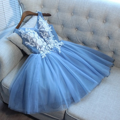Delicate Blue Lace Straps A-line Homecoming Dress   2020 Short Party Gown_2