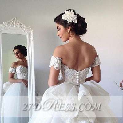 Elegant Sweetheart Tulle Wedding Dresses Tiered Lace Bridal Gowns_4