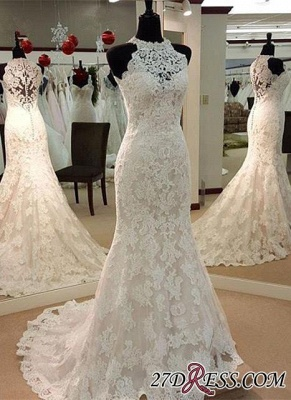 Full-Lace Sleeveless Mermaid Button Zipper Charming Wedding Dress_3