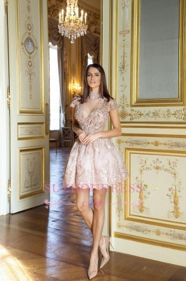 Occasion Lace Elegant Short Special Pink Long-Sleeve High-Neck Homecoming Dresses BA7055_1