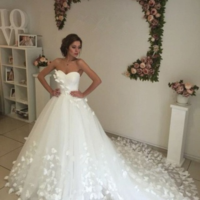 Gorgeous Sweetheart Flowers 2020 Wedding Dress With Train Tulle_5