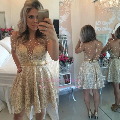 A-line Gold Short-Sleeves Beadings Short Lace Homecoming Dress_1