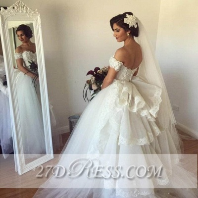 Elegant Sweetheart Tulle Wedding Dresses Tiered Lace Bridal Gowns_3