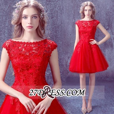 Short Sexy Cap-Sleeve Lace Red Tulle Homecoming Dress_5
