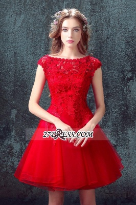 Short Sexy Cap-Sleeve Lace Red Tulle Homecoming Dress_6