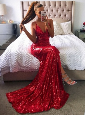 Sexy red sequins prom dress, mermaid 2020 evening party gowns BA8159_4