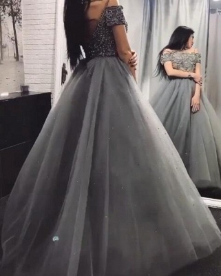 Glamorous Off-the-Shoulder Beadings Prom Dresses | 2020 Long Tulle Evening Gowns Online_4