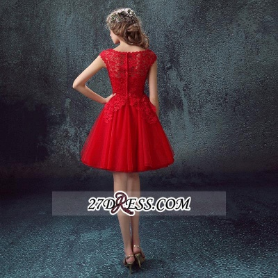 Short Sexy Cap-Sleeve Lace Red Tulle Homecoming Dress_4