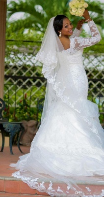 Gorgeous Long Sleeve Plus Size Wedding Dress 2020 Mermaid Lace Appliques With Beads_4