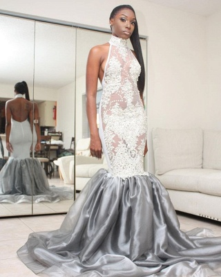Halter Lace Prom Dress | Mermaid 2020 Backless Evening Gowns_3