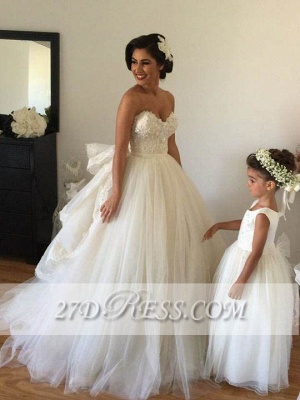 Elegant Sweetheart Tulle Wedding Dresses Tiered Lace Bridal Gowns_2