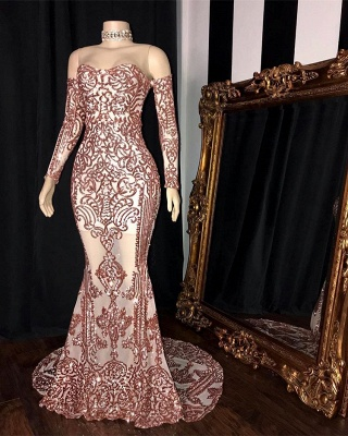 Gorgeous Long Sleeve Rose Pink Prom Dress | 2020 Mermaid Long Sequins Evening Party Dress BC1534_2