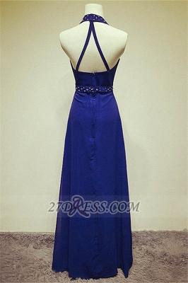 Elegant High Neck Long Chiffon Evening Dresses Beadings Crystals Prom Gowns_2