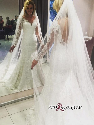 Long-Sleeve Glamorous Lace Mermaid Wedding Dress_2