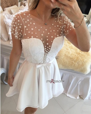Pearls Delicate Short-Sleeve A-line Zipper Tulle Mini Bow Homecoming Dress_1