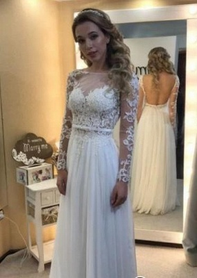 Backless Chic Long-Sleeves A-line Floor-length Lace Simple Wedding Dress_1