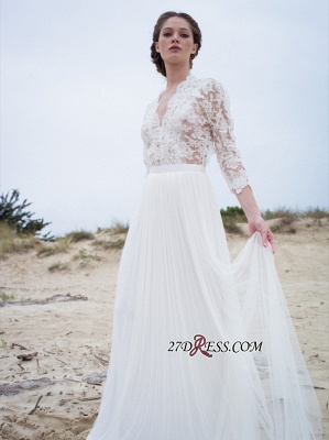 Simple A-line V-neck Long-Sleeves Lace Modern Wedding Dress_5