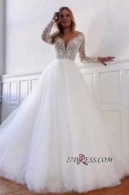 V-neck A-line Appliques Marvelous White Illusion-Long-Sleeves Lace Wedding Dresses_2