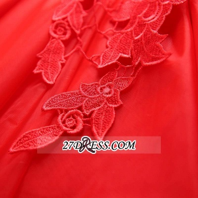 Short Sexy Cap-Sleeve Lace Red Tulle Homecoming Dress_1
