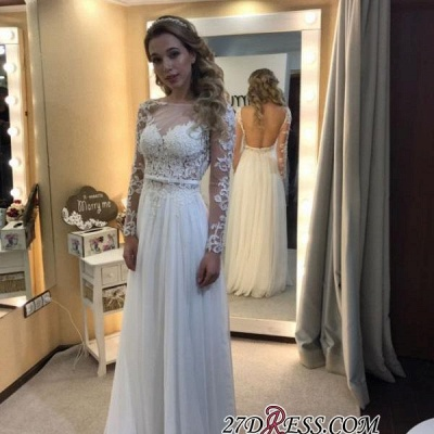 Backless Chic Long-Sleeves A-line Floor-length Lace Simple Wedding Dress_2