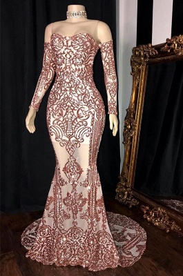 Gorgeous Long Sleeve Rose Pink Prom Dress | 2020 Mermaid Long Sequins Evening Party Dress BC1534_1