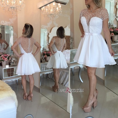 Pearls Delicate Short-Sleeve A-line Zipper Tulle Mini Bow Homecoming Dress_3