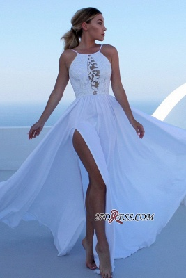 Floor-length Sleeveless Spaghetti-straps Slit Prom Dresses_1