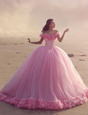 Fairy Pink Off-the-Shoulder 2020 Wedding Dress Tulle Ball Gown With Train LP047_1
