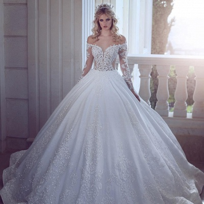 Gorgeous Off-the-Shoulder Long Sleeves Wedding Dress | Lace Appliques Ball Gown Bridal Gowns_2