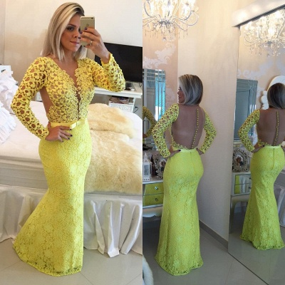 Stunning Long Sleeve Lace Evening Dress 2020 Pearls Mermaid Prom Gown BT0 BA6734_4