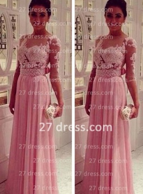 Lace Pink Empire Slim Evening Dresses Tulle Back Transparent Floor Length Prom Dresses With Knotbot & 1/3 Long Sleeve_2