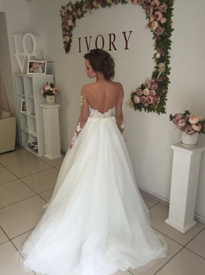 Glamorous Off-the-shoulder Lace Appliques Wedding Dress 2020 Long Sleeve Tulle BA9085_4